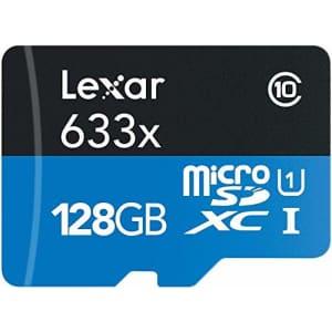 Lexar High-Performance 633x 128GB MicroSDXC UHS-I Card with SD Adapter (LSDMI128BBNL633A) for $18