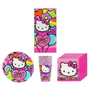 Hello Kitty New Sanrio Rainbow Birthday Party Supplies Pack Bundle Kit Including Plates, Cups, for $30