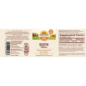 Sundown Biotin 1000 mcg, 120 Tablets (Pack of 3) for $24