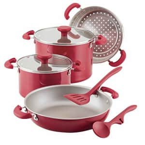 Rachael Ray 8-Piece Create Delicious Stackable Nonstick Cookware Set, Red Shimmer for $130