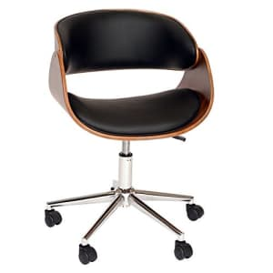 Armen Living Julian Office Chair in Black Faux Leather and Chrome Finish for $131