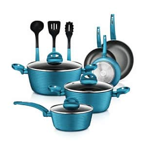 NutriChef Kitchenware Pots&Pans Stylish Cookware, Non-Stick Coating Inside&Outside+Heat Resistant for $125