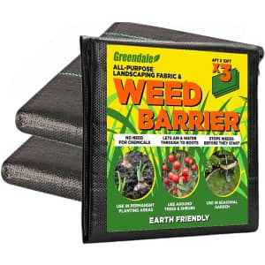 Greendale 4x10-Foot Heavy Duty Weed Barrier 3-Pack for $25