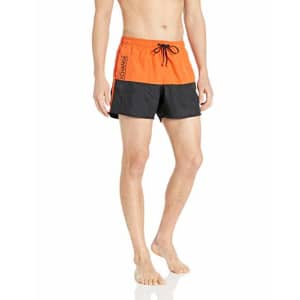 A|X Armani Exchange Men's Dual Colored Swimming Trunk Shorts, Flame and Black, XXL for $29