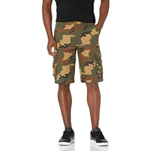 Beverly Hills Polo Club Men's Basic Cargo Shorts Non-Belted, Green Camo 6477A, 36 for $18