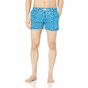 2(X)IST Men's Ibiza Swim Trunk Swimwear, Multi Striped Fish/Blue Aster, Small for $44