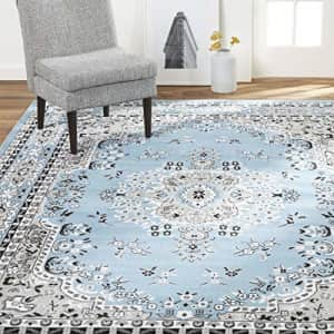 """Home Dynamix Premium Asiana Traditional Area Rug, Oriental Light Blue 21""""x35"""" for $20"""