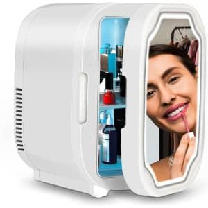 Amerfist 8-Liter LED Mirrored Skin Care Beauty Fridge for $40