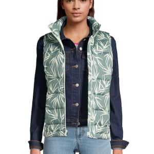 Lands' End Women's 600 Down Puffer Vest Print for $12