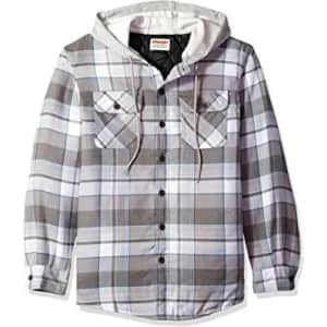 Wrangler Authentics Men's Long Sleeve Quilted Lined Flannel Shirt Jacket with Hood for $27