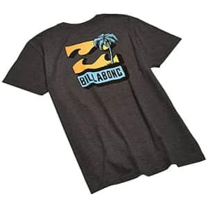 Billabong Men's Classic Short Sleeve Premium Logo Graphic Tee T-Shirt, BBTV Black Heather, Large for $20