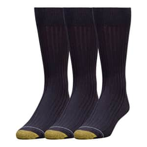 Gold Toe Men's Classic Canterbury Crew Socks, 3-Pairs, Navy, X-Large for $18