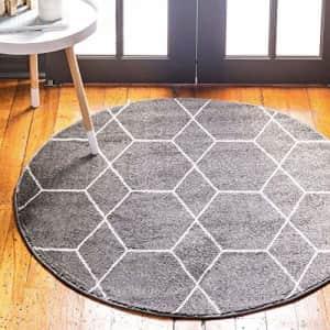 Unique Loom Trellis Frieze Collection Lattice Moroccan Geometric Modern Round Rug, 3 Feet, Dark for $40