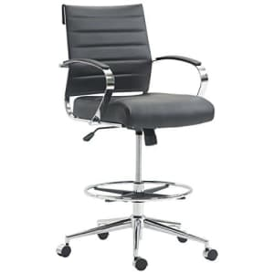 EdgeMod Tremaine Drafting Chair in Vegan Leather, Black for $404