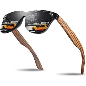 Kithdia Polarized Bamboo Sunglasses for $13