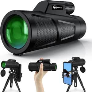 Kimwood 12x50 HD Monocular Telescope with Tripod for $50