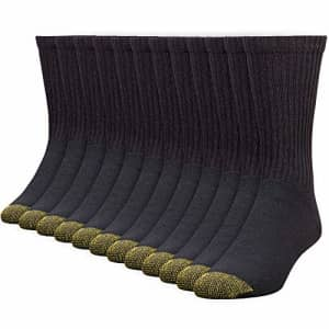 Gold Toe Men's 656s Cotton Crew Athletic Socks, Multipairs, Black (12-Pairs), X-Large for $20