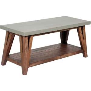 """Alaterre Furniture Brookside 36"""" Concrete-Coated Solid Hardwood Coffee Table for $196"""
