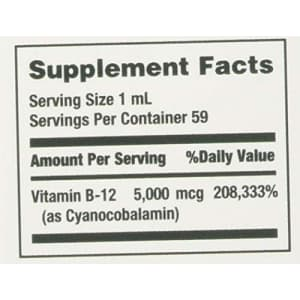 Nature's Bounty B-12 5000 mcg Sublingual Liquid Energy Health 2 oz (Pack of 2) for $12