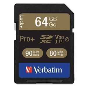 Verbatim 64GB Pro Plus 600X SDXC Memory Card, UHS-I V30 U3 Class 10 for $31