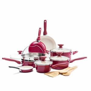 GreenPan Rio Healthy Ceramic Nonstick, Cookware Pots and Pans Set, 16-Piece, Red,CC002330-001 for $150