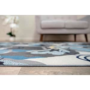 """Rugshop Modern Large Floral Non-Slip (Non-Skid) Area Rug 5 X 7 (5' 3"""" X 7' 3"""") Gray-Blue for $73"""