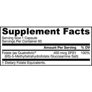 Jarrow Formulas Methyl Folate 400 mcg - 60 Veggie Caps - Highly Biologically Active Form of Folate for $12
