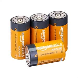 Amazon Basics 4 Pack C Cell All-Purpose Alkaline Batteries, 5-Year Shelf Life, Easy to Open Value for $11