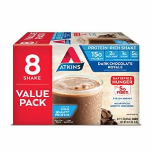 Atkins Gluten Free Protein-Rich Shake, Dark Chocolate Royale, Keto-Friendly, 8 Count for $11