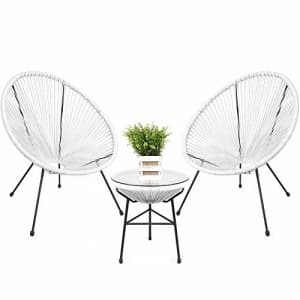 Best Choice Products 3-Piece All-Weather Patio Acapulco Bistro Furniture Set w/Rope, Glass Top for $220