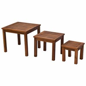 Outsunny 3 Piece Outdoor Side Nesting Table Patio Set with Acacia Wood Build & Multi-Functional for $95