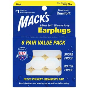 Mack's Pillow Soft Silicone Earplugs 6-Pack for $3.76 via Sub & Save