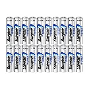 Energizer Ultimate Lithium AA Size Batteries - 20 Pack for $33