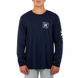 Hurley Men's Everyday Washed One and Only Icon Gradient Long Sleeve T-Shirt, Obsidian, Small for $32