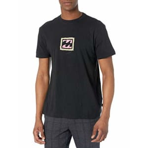 Billabong Men's Short Sleeve Premium Logo Graphic Tee T-Shirt, Black Crayon Wave, SM for $26