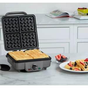 Cuisinart Stainless Steel Belgian Waffle Maker w/ Pancake Plates for $91
