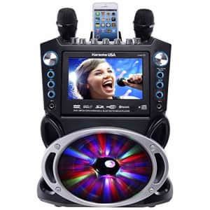"""Karaoke USA GF842 DVD/CDG/MP3G Karaoke Machine with 7"""" TFT Color Screen, Record, Bluetooth and LED for $218"""