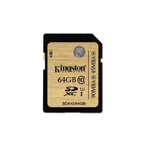 Kingston Digital 64GB SDXC Class 10 UHS-I Flash Card (SDA10/64GB) for $120