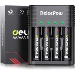 Deleepow 1.5V Rechargeable AAA Lithium Batteries 4-Pack with USB Charger for $13