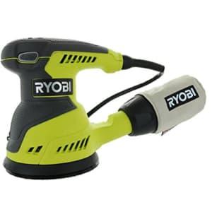 Ryobi RS290G 2.6 Amp 12,500 OPM Single Speed 5 Inch Hook and Loop Corded Random Orbit Sander w/ 3 for $58