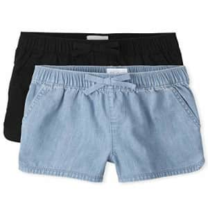 The Children's Place Girls Pull On Shorts 2-Pack, LT 90S BLU WSH, 6X-7X for $14