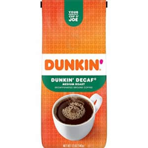 Dunkin Donuts Dunkin' Original Blend Medium Roast Decaf Ground Coffee, 12 Ounces (Pack of 6) (Packaging May Vary) for $32