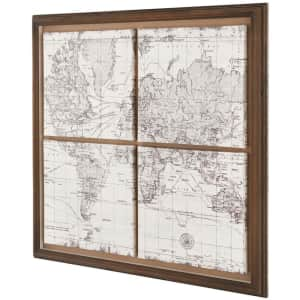 """StyleWell 29"""" x 29"""" Wood-Framed World Map Wall Art for $59"""
