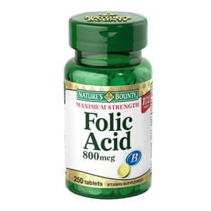 Nature's Bounty Folic Acid, 800 mcg, 250 Tablets, Maximum Strength for $13