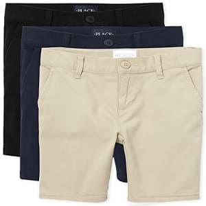 The Children's Place Girl's Chino Shorts, Black/Sandy/Tidal, 6 slim for $28