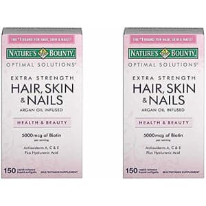 Nature's Bounty Extra Strength Hair Skin Nails, 150 Count,Pack of 2 for $35