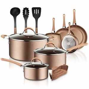 NutriChef 14-Piece Nonstick Cookware PTFE/PFOA/PFOS-Free Heat Resistant Lacquer Kitchen Ware Set for $126