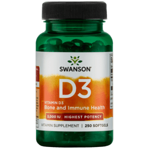 Swanson Health Products Vitamin D3 5,000IU 250-Count Bottle for $8