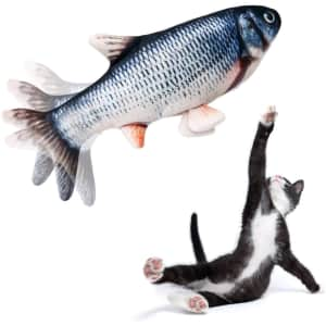 Beewarm Flopping Fish Cat Toy with Catnip Bag for $7