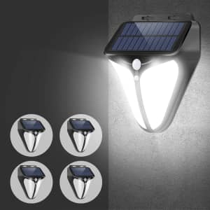 A-Zone Solar Powered Motion Activated Outdoor LED Light 4-Pack for $18